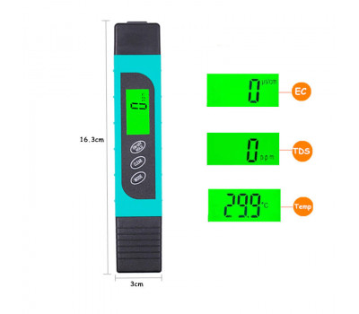 TDS метр (солемер) YL-TDS2-A 3 в 1: TDS, EC, температура
