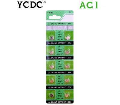 Купить батарейки-таблетки AG1 (1.55V) YCDC