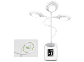 Настольная лампа с подставкой для ручек и часами LAOPAO