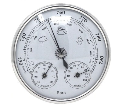 Бытовой настенный барометр THB9392 с термометром и гигрометром Ø13 см.