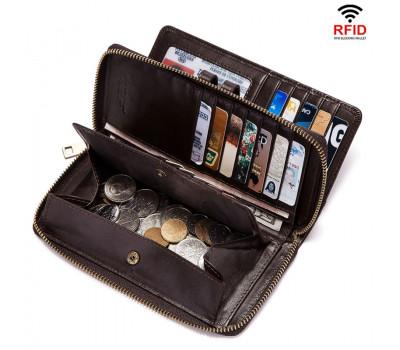 Женский кожаный кошелёк KAVI'S, длинный стиль, RFID защита карт