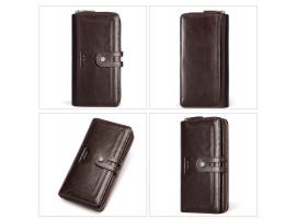 Женский кожаный кошелёк KAVI'S, длинный стиль, RFID защита