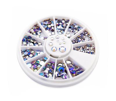 Круглые стразы для украшения ногтей  (микс разных размеров) 220 шт.