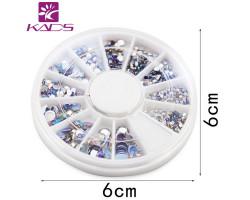 Круглые стразы для украшения ногтей (микс) 220 шт.