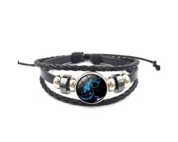 Кожаный браслет со светящимся зодиаком