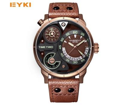 Стильные мужские пилотные/авиационные часы EYKI (2 часовых пояса)