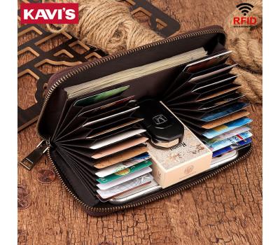 Длинный мужской кошелёк KAVI'S с карманом под телефон (RFID)