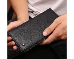 Мужской кошелек Bison Denim на молнии с RFID защитой карт