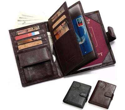 Мужской кожаный бумажник (портмоне) KAVIS для документов и денег