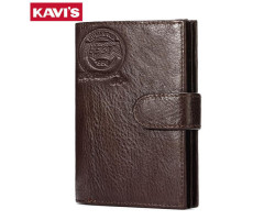 Мужской кожаный бумажник KAVIS для документов и денег