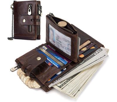 Мужское портмоне KAVIS с Rfid защитой карт и съёмной секцией