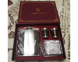 Подарочная фляга с двуглавым орлом (4 предмета)