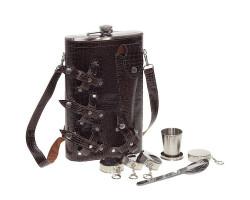 Туристический набор с большой флягой в сумке-чехле