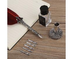 Подарочная перьевая ручка с подставкой и чернильницей