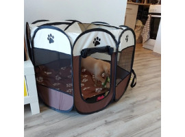 Складной домик для кошки с котятами (коричневый)