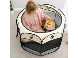 Складной домик-манеж для кошки с котятами (серый)