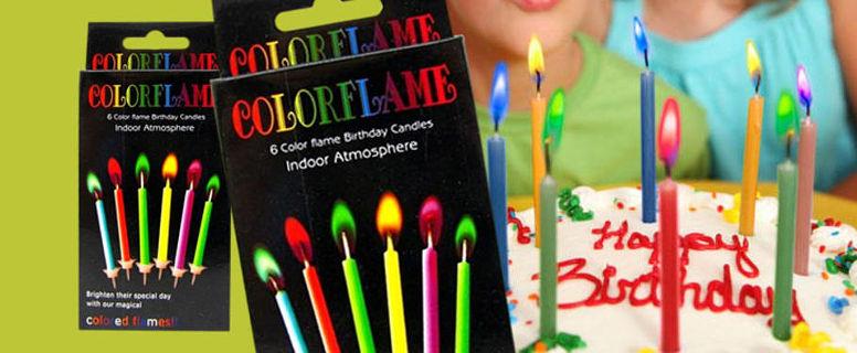 Свечи для торта с цветным пламенем