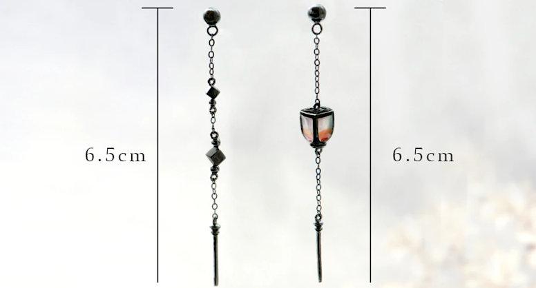 Асимметричные серьги фонарь