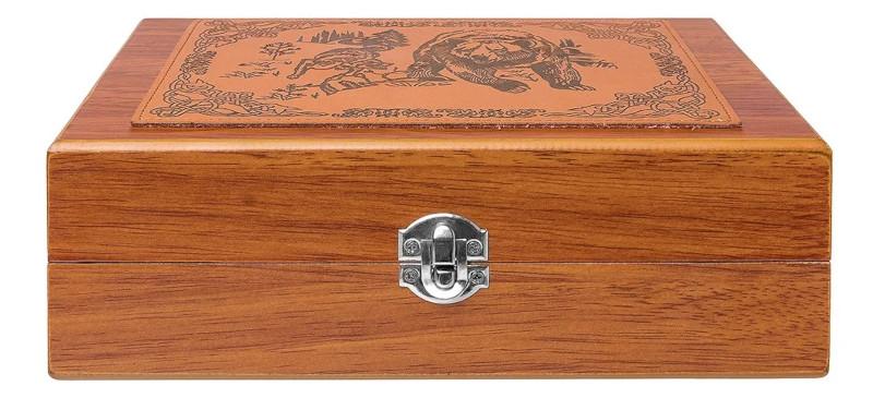 Походный подарочный набор в деревянном ящичке